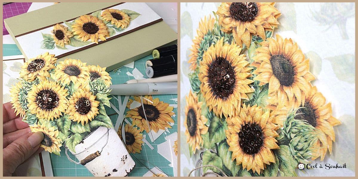 Embellissement de tournesols (sunflowers) pour carte de voeux.