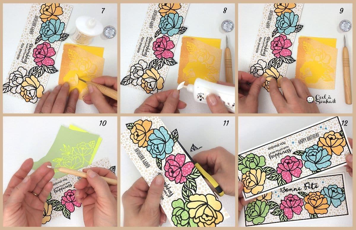 Tutoriel montrant la technique d'incrustation de petites pièces dans un dessin.
