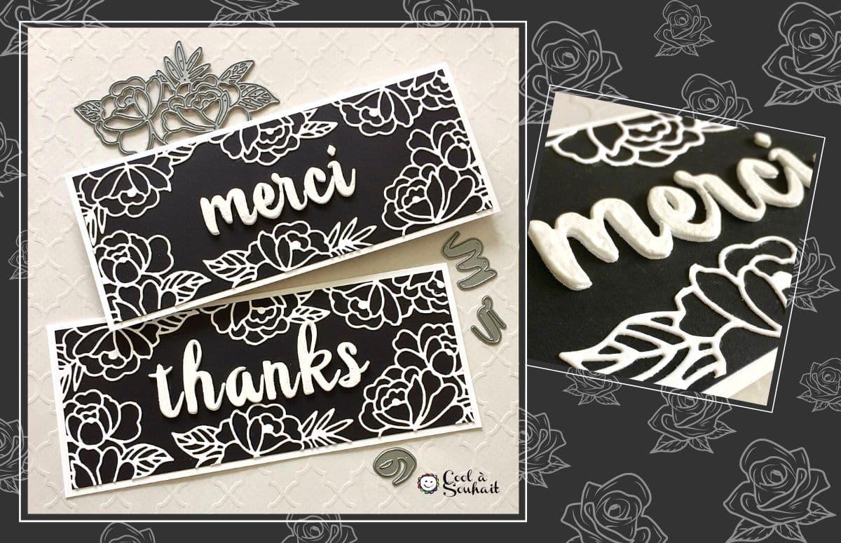 Carte de remerciement faite à la main.