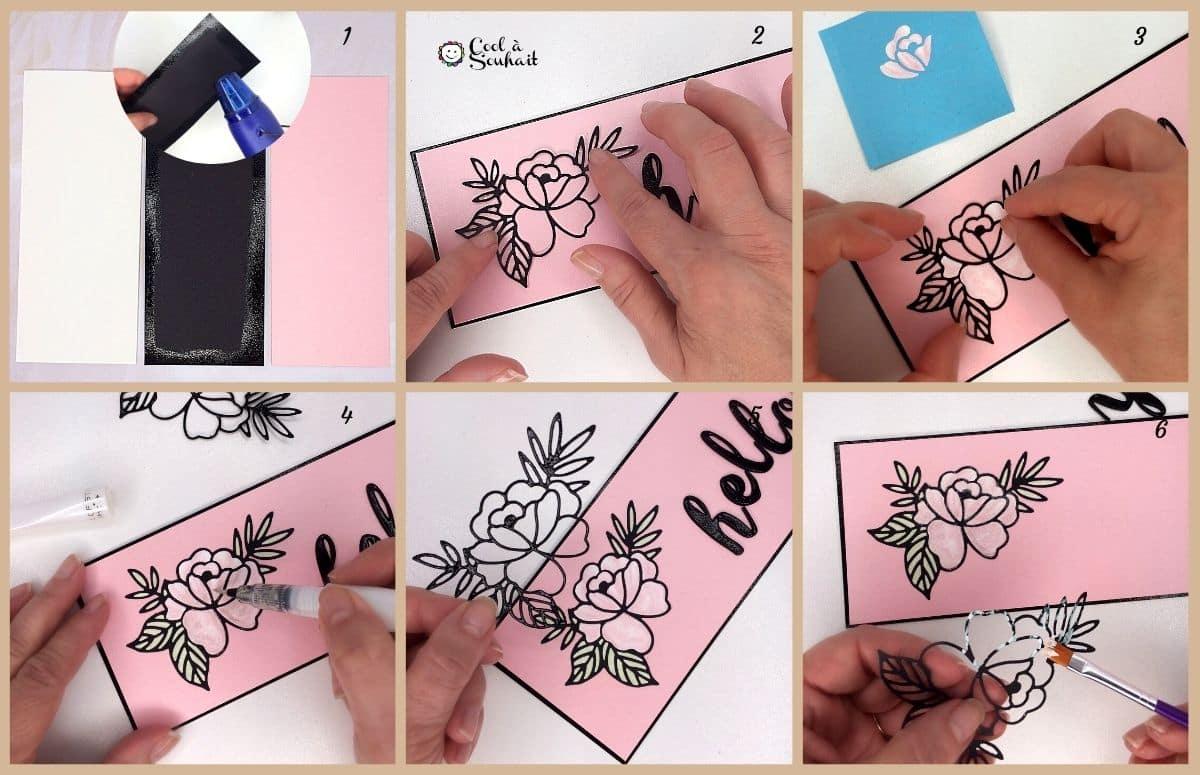 Carte fabriquée avec matrice de découpe (dies) spring rose.