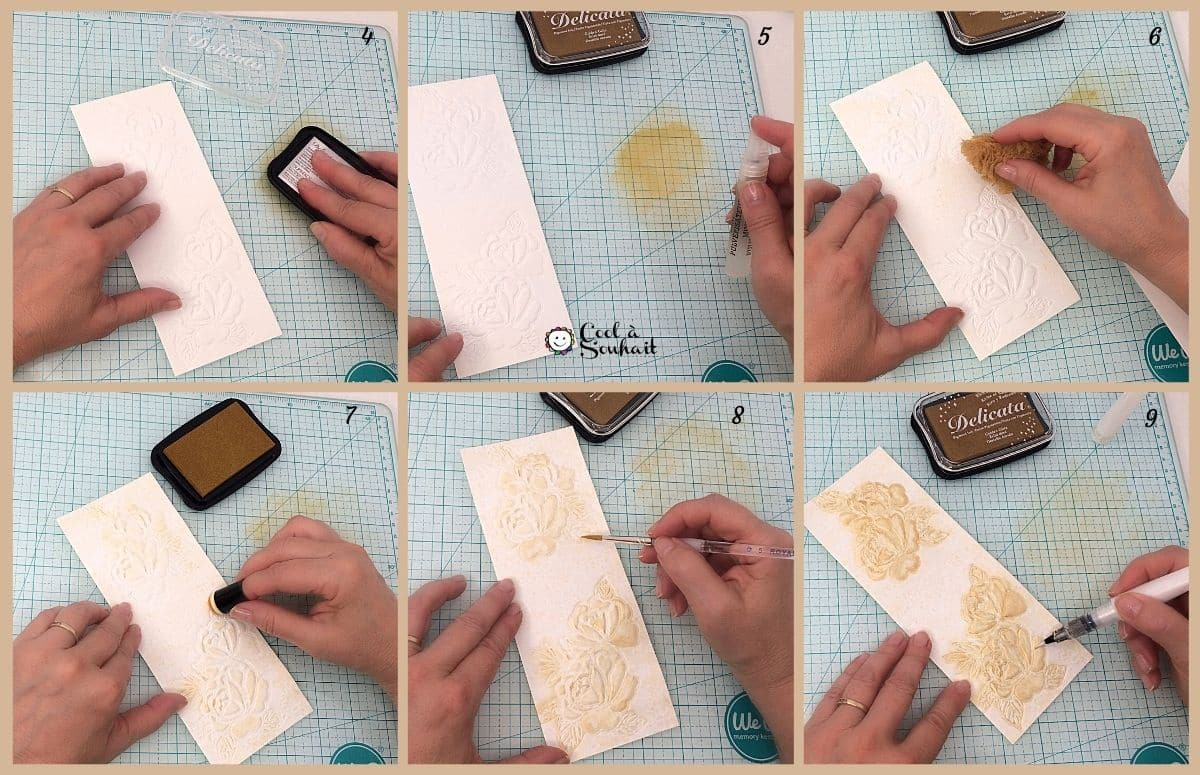 Ajouter de l'encre Delicata Éclat dorée sur une image embossée.
