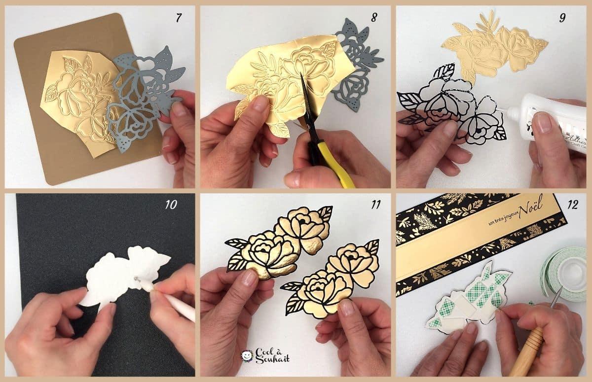Des découpes de roses pour une carte slimline de Noël.