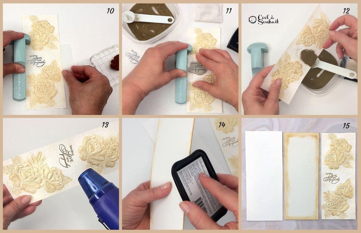 Tamponner un texte avec la méthode d'embossage à chaud.