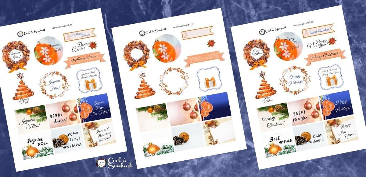 Étiquettes de voeux pour cartes de Noël.