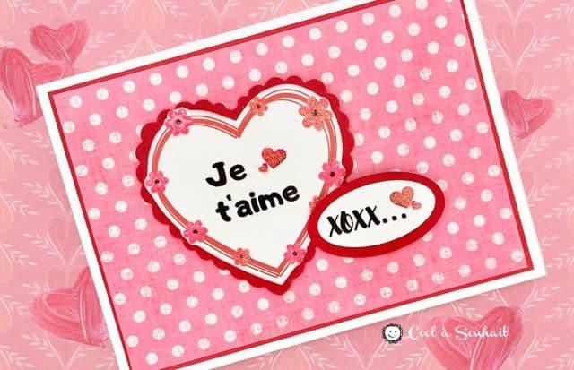 St-Valentin carte coeur et mots d'amour.