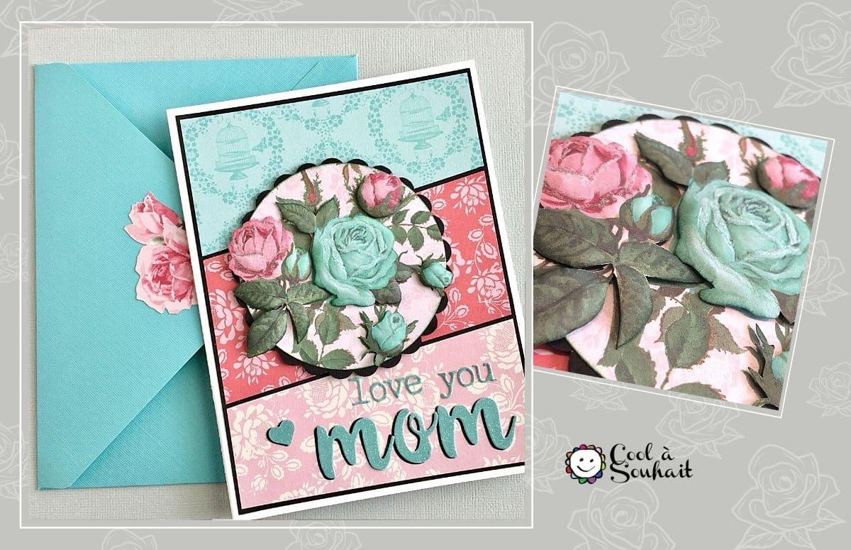 Carte de voeux en 3D avec embellissement de roses.
