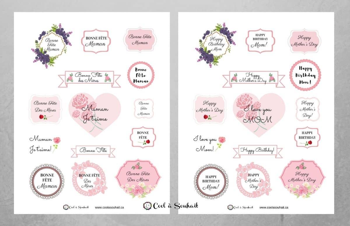 Page d'étiquettes de voeux pour la fête des mères.