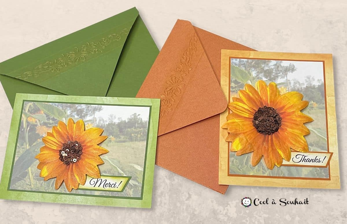 Carte avec tournesols (sunflowers) créée à partir d'une photo.