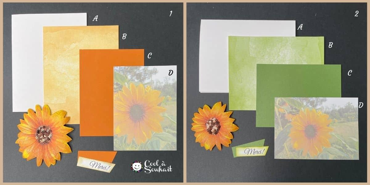 Éléments nécessaires pour fabriquer deux cartes de voeux avec tournesols (sunflowers).