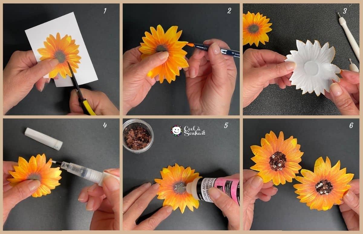 Étapes à suivre pour la fabrication des tournesols (sunflowers).